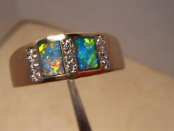Brilliant Mens Opal And Diamond Ring Heavy 14 K Gold Size 12