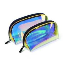 Makeup Bag Iridescent Holographic Clear Cosmetic Bag Large Capacity Pouch Bag Q $7.22