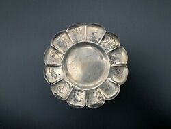 Vintage Sterling Silver Elephant Cow Pig Flower Tray Plate