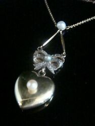 Victorian Edwardian 18ct Puff Heart Rose Cut Diamond Natural Pearl Necklace