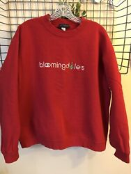 Bloomingdales Logo Embroidered Red Crewneck Sweatshirt Christmas Tree Size L