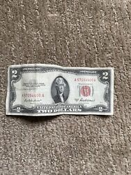 1953 2 Two Dollar Bill  Red Seal Free Shipping