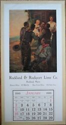 Rockland And Rockport Me 1916 Advertising Calendar/12x24 Poster Lime Co. - Maine