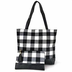 Red Buffalo Plaid Tote Bag And Check Everyday Lightweight Tote For Women Use New $29.24