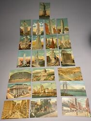 Lot Of 22 New York City Lithograph Post Cards Zepplins Yankee Stadium And More