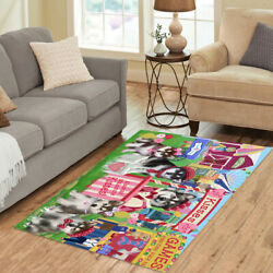 Personalized Carnival Kissing Booth Alaskan Malamute Dogs Area Rugs Mats