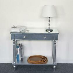 Mirrored Modern Console Sofa Table with 2 Storage Drawers Silver