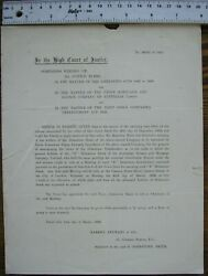 1902 High Court Notice Meeting Union Mortgage Agency Co Of Australia