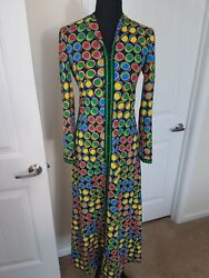 Vintage Anne Fogarty 60and039s 70and039s Mod Colorful Dots Hostess Dress Sz 10 Connect 4