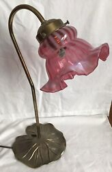 Fenton Cranberry Opalescent Spiral Optic Lamp Lily Pad Lamp P8