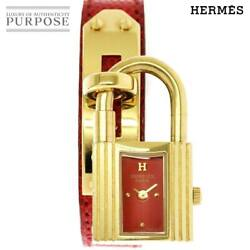 Authentic Hermes Kelly Women's Watch Red Dial Quartz Gold Plated B526726312
