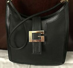 AUTHENTIC GUCCI BLACK HOBO JACKIE O SHOULDER CANVAS LEATHER GREAT COND. BLACK $199.99