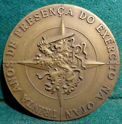 Lion W/ Sword, Star - Army Nato / Coats Of Arms 80mm 1983 Bronze Medal