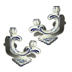 2 Handmade Blue And Withe Porcelain Hand Painted Candle Holders Portugal