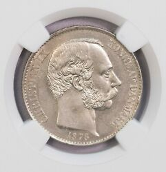 Ngc-ms63 1878 Danish West Indies 20cents Silver Bu