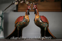 17 Old Chinese Cloisonne Enamel Bronze Dynasty Palace Peacock Phoenix Censer