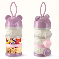 Baby Food Layers Bear Style Portable Storage Box 4 Essential Milk Infant Gift