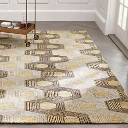 Area Rugs 9and039 X 12and039 Gramercy Gold Hexagon Hand Tufted Crate And Barrel Carpet