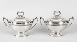 Antique Pair Sauce Tureens Entree Dishes Henry Atkins C1860 19th Century