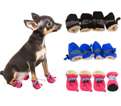 Quality Pet Dog Boots Waterproof Cotton Anti slip Reflective Puppy Snow Shoes