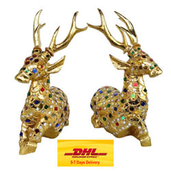 Deer Wood Carving Stained Glass Handcrafted Art Sculptures Home Decor Figurines