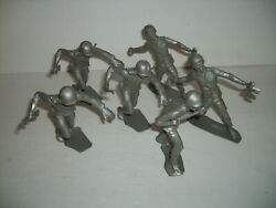 6 Rare Vintage Silver Us American Wwii 6 Plastic Soldier Army Figure Marx Mpc