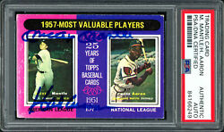 Mickey Mantle And Hank Aaron Autographed 1975 Topps Card 195 Psa/dna 84166249
