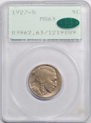 1927 S 5c Buffalo Head Nickel Pcgs Ms 63 Uncirculated Cac Approved Rattler Un...