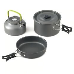 Camping Cookware Outdoor Mess Kit Hike Picnic Stainless Steel Pot Frypan Kettle