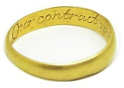 18th Century Georgian Gold Posy Our Contract Was Heavens Act Makers Mark Wt
