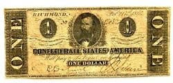 Civil War Confederate States Of America 1862 1 Bill With Message On Back