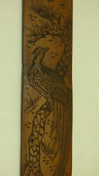 Vintage 15 3/4 Carved Wood Page Turner Bird Of Paradise Japanese Asian Bamboo