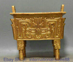 9.2 Rare Old Chinese 24k Gold Gems Dynasty Palace Beast Face Incense Burner