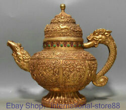 12.4 Antique Old Chinese 24k Gold Gems Dynasty Palace Dragon Handle Wine Pot