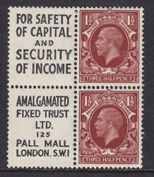1934 Kgv Sg441ew Nb278 1½d For Safety Of Capital / Amalgamated Booklet Pane