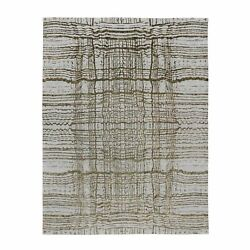 9and039x11and0397 Gray Fine Jacquard Modern Wool And Art Silk Hand Loomed Rug R58020