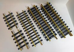 Aristo-craft G Scale Brass Straight Track W/ Connectors And Screws 5-12 And 2-6