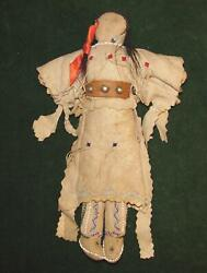 Native American Indian 19th Century Leather Beaded Plains Indian 10 1/2 Doll