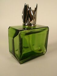 Lamp Bergere Green Carat Glass Catalytic Fragrance Oil Diffuser Silver Crown
