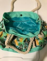 Tropical Print Tote Beach Bag With Rope Handles $5.00