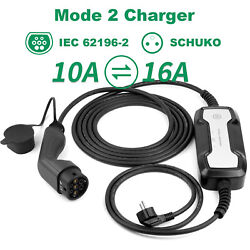 Portable 10/16a Electric Vehicle Charger 20ft Ev Charging Cable Type2 Battery