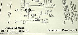 1956 Sams Service Schematic For A Ford 6bf Fdr-18805-b Radio
