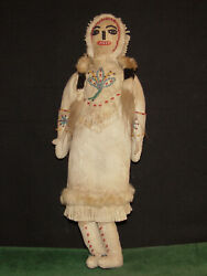Native American Indian 19th Century Leather Beaded Tlingit- Athabaskan 13 Doll