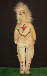Native American Indian 19th Century Leather Beaded Tlingit- Athabaskan 11 Doll