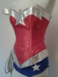 New Silver Comic Wonder Woman Corset Costume With Hotpants, Briefs,skirt