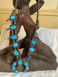 Vintage Turquoise Silver Native American Necklace