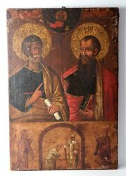 Antique Large Greek Icon Painting - 19th Century