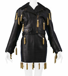 Vintage Moschino Black Leather Skirt Suit Wth Gold Chain Tassels 1989