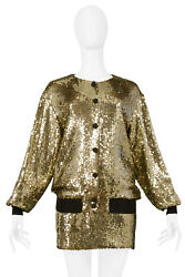 Vintage Moschino Gold Sequin Bomber Jacket, Bra And Skirt 1989