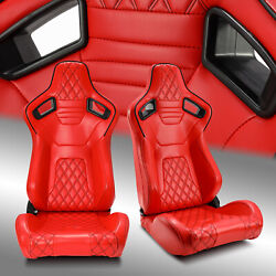 2 X All Red Diamond Leather Left/right Sport Racing Bucket Seats Leftandright Pair